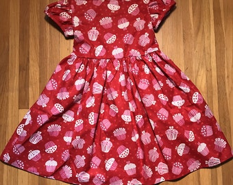 Pink Cupcakes // Red Glittery Girls Dress Size 5T