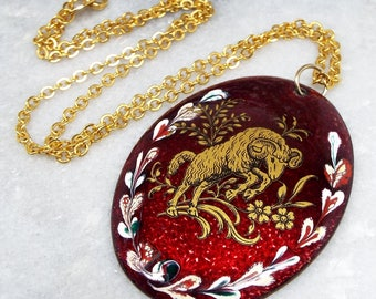 Vintage / Gold Glazed Red Ceramic Painted Ram Statement Pendant Necklace / Aries