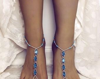 Something Blue Rhinestone Barefoot Sandals Foot Jewelry Bridal Sandals Beach Wedding Aqua Anklet Wedding Sandals Foot Thong Bridal Jewelry