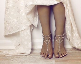 Bridal Jewelry Swarovski Sandals Barefoot Sandals Wedding Foot Jewelry Bridal Anklet Jewelry for Bride Beach Wedding Destination Wedding
