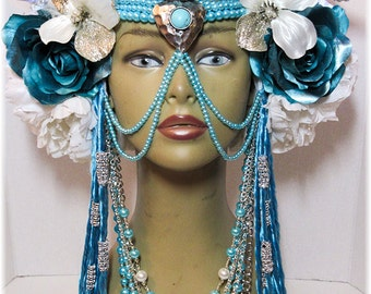 ReadyToShip,Metallic Turquoise with White LED lights, Head dress, Bellydance, Burning Man, Fantasy Wear,Fairy Headpiece, burlesques
