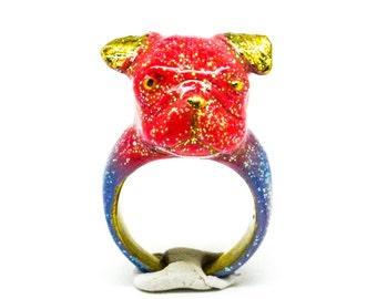 Cobalt Pug Ring