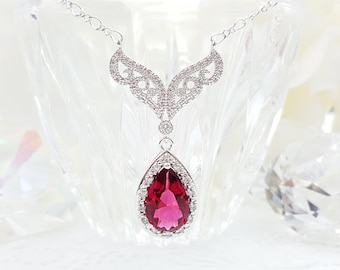 Ruby Wedding Necklace, Fairytale Jewelry, Red LUX Bridal Necklace, Ruby Teardrop CZ Necklace, Fuchsia Pink Bridal Jewelry, Red Prom, N2017