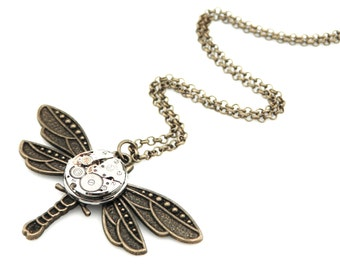 Bronze Dragonfly Necklace -  Steampunk Watch Dragonfly - clockwork dragonfly