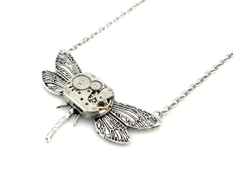 Petite Dragon fly Necklace - mechanical clockwork dragonfly Steampunk pendant - edwardian steampunk