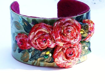 Romantic Rose Cuff Bracelet Hand Painted Boho Chic Victorian Jewelry FREE SHIPPING