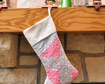 Vintage Christmas Stocking Farmhouse Christmas- Upcycled Quilts-Handmade Christmas Stockings-Antique Quilt-Old Quilt Stocking Pink Christmas