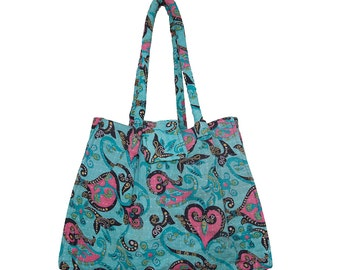 KANTHA Bag - Small - Turquoise with black and pink heart design