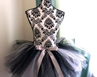 Adult Tutu - Grey and Black Tutu -