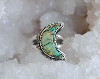 Monarch Opal Crescent Moon Ring, size 7.5