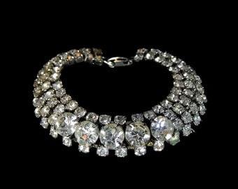 Vintage Wide Rhinestone Bracelet 4 Rows Brilliant Stones