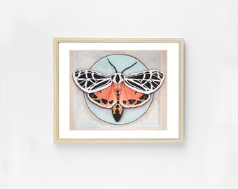 Beautiful Moth Art Print. Butterfly Wall Art. Geometric Print. Natural Home Decor. Colorful Bug Painting. Unique Gift. Insect Art. Science.