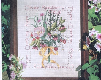 CROSS STITCH PATTERN - Pink & Red Flower Bouquet Cross Stitch Sampler - Herbs Cross Stitch - Vintage Cross Stitch