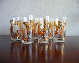 Set of 6 Butterfly Glasses Mid Century Modern Barware