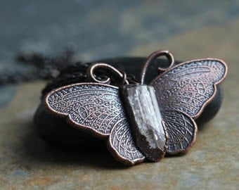Crystal Necklace Butterfly Pendant Danburite Crystal Necklace Oxidized Copper Electroformed Copper Necklace Stone Pendant