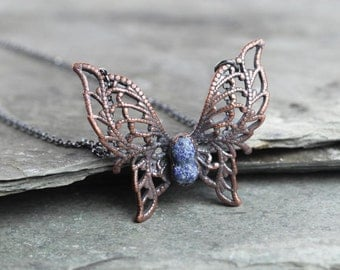 Electroformed Necklace Butterfly Pendant Azurite Pendant Necklace Oxidized Sterling Silver Electroformed Copper Necklace Stone Pendant