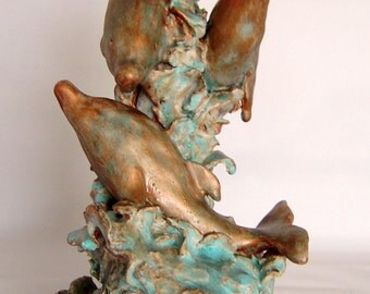 Dolphins sculpture/ceramic sculpture, original sculpture