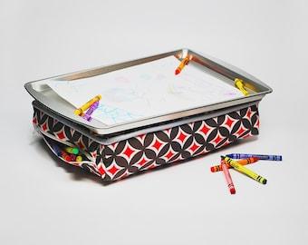 Red Kid's Lap Desk - Kid's Travel Lap Desk - Red and Gray Lap Desk - Kid's Lap Tray - Kid's Lap Pillow - Travel Toys - Kid's Birthday Gift