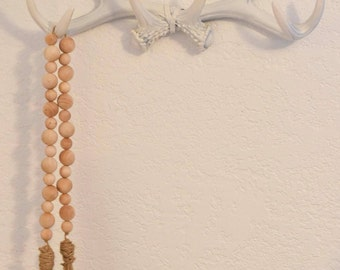 Wood Bead Garland  - Farmhouse Style Garland - Natural Wooden Beads - Garland with Tassel