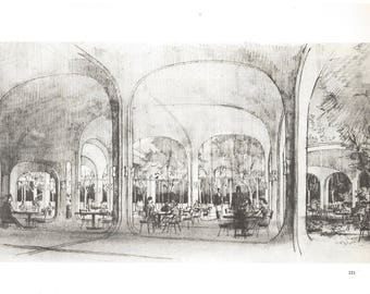 Architectural Drawing Book Plate of the Spray Form Restaurant. Mount Kisco, NY. 1960.