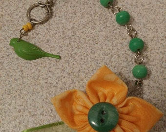 Yellow and green fabric flower necklace with beads