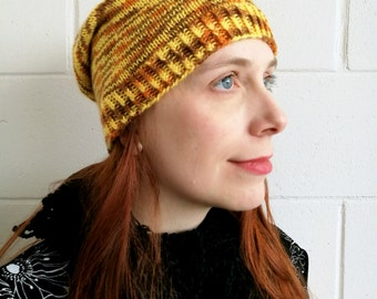 Knitted colorful wool women's slouchy beanie, yellow and brown. Hipster hat.