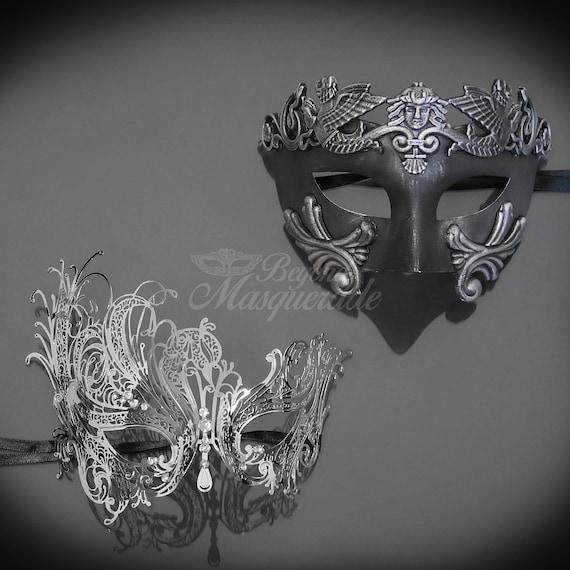 Masquerade Ball Clothing: Masks, Gowns, Tuxedos His & Hers Couples Masquerade Mask Silver Filigree Metal Masquerade Masks for Couples Masquerade Masks - Mardi Gras MasksHis & Hers Couples Masquerade Mask Silver Filigree Metal Masquerade Masks for Couples Masquerade Masks - Mardi Gras Masks  AT vintagedancer.com