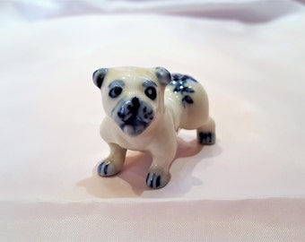 Miniature Pug Dog, Porcelain Pug Dog, Delft Blue Pug Dog, Flow Blue Pug Dog, Pug Dog Figurine, Collectible Pug Dog, Dog Lover Gift, Dog Gift