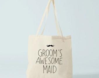 Tote Bag GROOM's awesome maid, wedding tote bag, groom's maid tote bag, groom's maid gift.