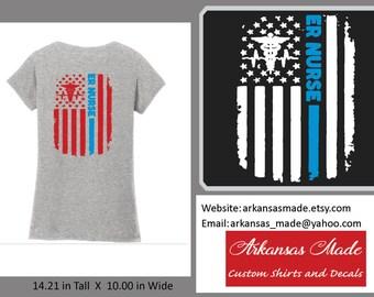 ER Nurse distressed American flag custom nurse v neck shirt, Design on back, Emergency nurse, trauma nurse, RN, LPN, Nurse shirt, nurse gift