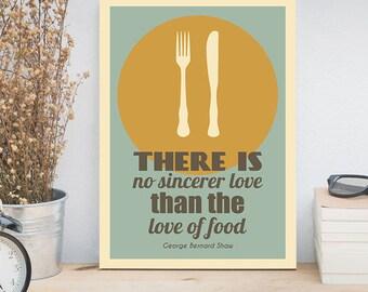 Rustic Kitchen Decor, Farmhouse Decor, Kitchen Print, Retro Poster, Minimalist Art, Fork, Knife, Plate, George Bernard Shaw Quote, Food Art