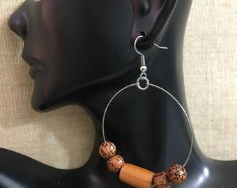 Light Brown Wooden Beaded Stainless Steel Hoop Earrings