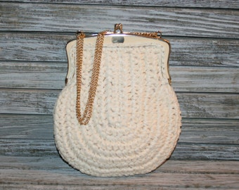Vintage White Straw Purse 50s 1950s Raffia Handbag Gold Chain Strap Retro Easter Spring Summer Hinged Frame Marcus Brothers made in Italy