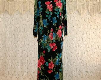 Hawaiian Tropical Dress Maxi Black Floral Skirt Set Knit Traveler Orchid Print Medium Large Womens Clothing