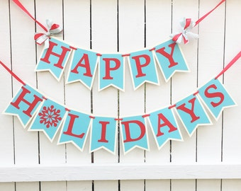 Christmas Banner - Happy Holidays Banner - Christmas Photo Prop - Holiday Decorations - Christmas Party Banner Holiday Party Banner