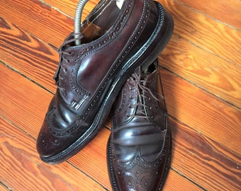 Vintage 60s Unknown Maker Shell Cordovan Longwing Shoes 8.5C