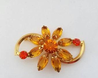 Rhinestone Brooch, Flower Brooch, Rhinestone Pin, Rhinestone Jewelry, Amber, Rich Autumn Color, Vintage Brooch, Daisy Pin, Gift for Her