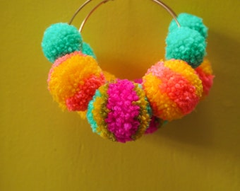 Bright Pom Pom Hoop Earrings