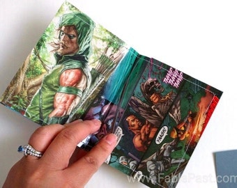 CLEARANCE SALE - Green Arrow Comic Book Upcycled 2 Pocket Laminate Wallet