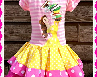 girls Belle Beauty and the Beast dress 2T 3T 4T 5T ready to ship