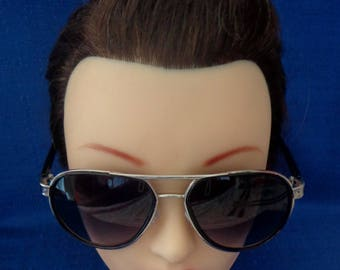 Vintage Silver Aviator Sunglasses with Black Temple Arms