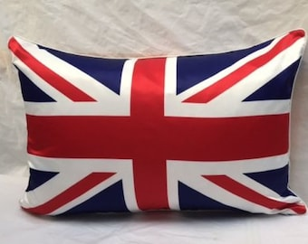 "Quality Union Jack Faux Silk Cover 16"" x 24"" (40x60cm) Oblong Great Britain Flag Cushion Cover"