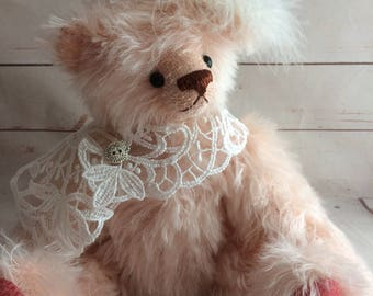 One of a Kind Teddy Bear - Collectable Mohair Artist Bear - Traditional Bear- Freshwater Pearl - Best Friend Gift - Special Occasion Gift