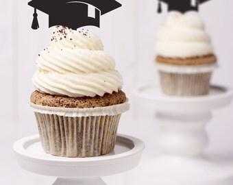 Graduation Cap Cupcake Topper - Set of 10 Cupcake Toppers, Graduation Decorations, Graduation Cap Decorations, Graduation Topper (T389)