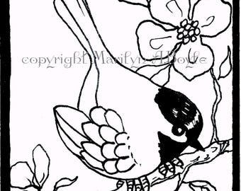 ORIGINAL ACEO CARD - pen and ink; coloring card, 2.50 x 3.20 inches, artist's trading card, chickadee, apple blossoms, miniature,