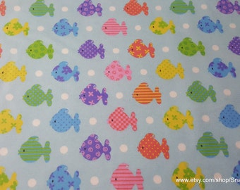 Flannel Fabric - Bright Patterned Fishies - 1 yard - 100% Cotton Flannel