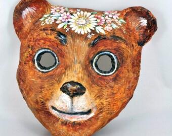 Pappmaché Mask, children mask, Little bear mask, animal mask