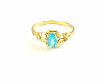 Vintage Blue Topaz and Diamond 14k Gold Ring