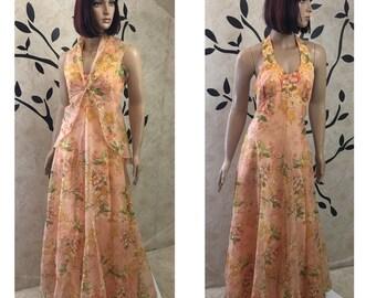 Halter dress, Evening dress, Formal dress, Vintage dress, Womens dress, Size 10 dress, Fancy dress, Peach dress, Sleeveless dress