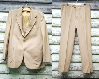 70s Vintage Mens Beige Brown 3 Piece Suit Retro Jacket Hippie Wool Pants Waistcoat Vtg 1970s Size M-L